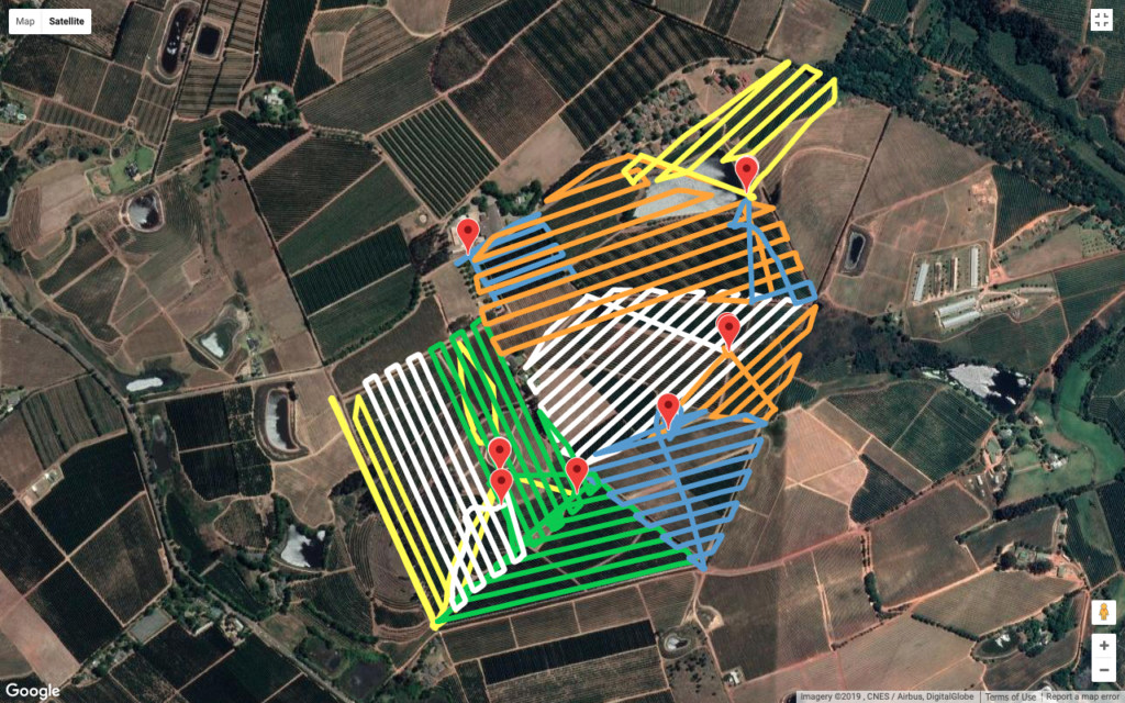 Multiple drone flight paths over an apple farm in the Western Cape.